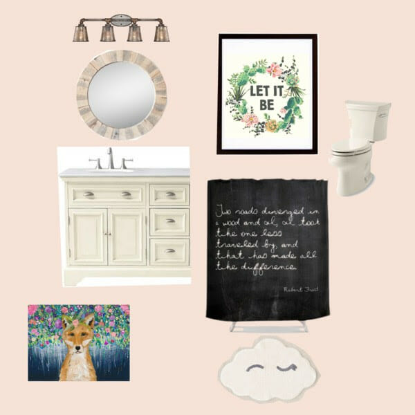 Pink Eclectic Bathroom Mood Board