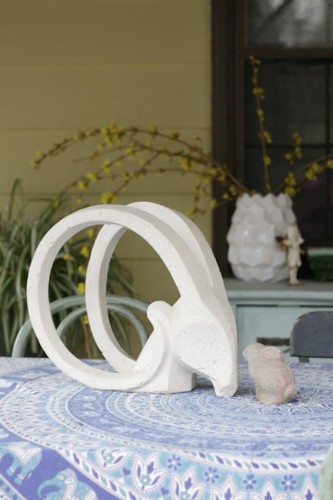 Midcentury Antelope Head Concrete Sculpture