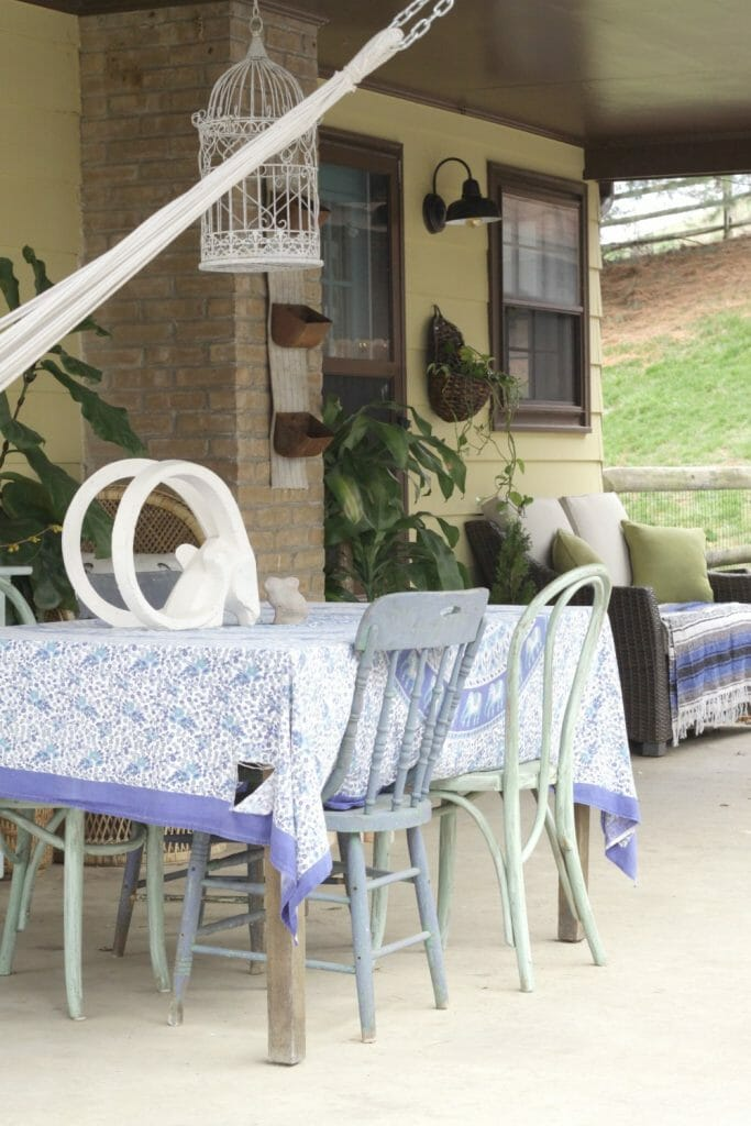 Vintage Dining on Porch in Blues