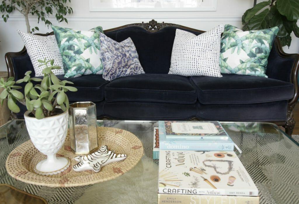 Vintage Navy Velvet Sofa- Blue Green Styling