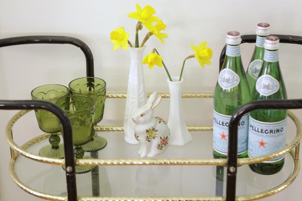 Daffodils on bar Cart