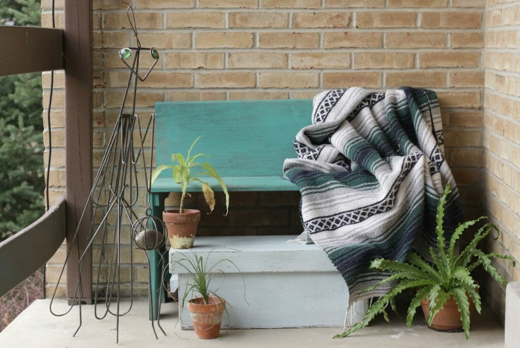 Boho Spring Porch Decor- Entry- Bench and Mexican Blanket and Plants