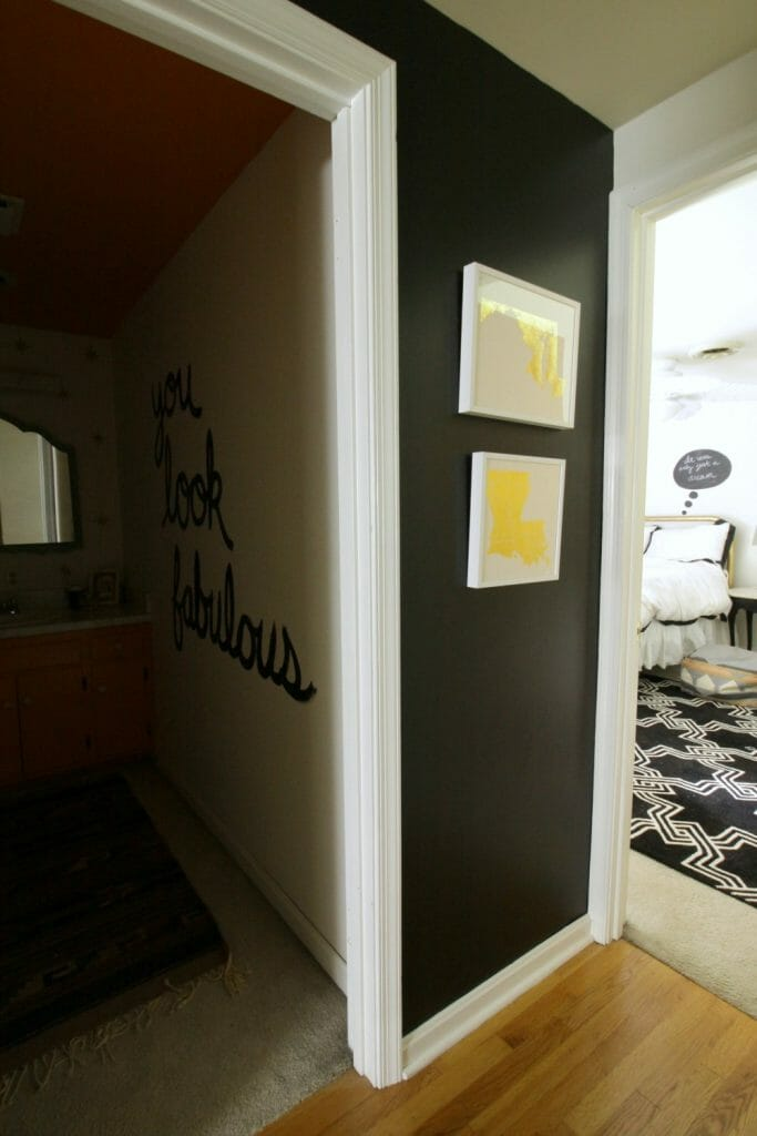 Black and White Hallway with Gold Foil Art