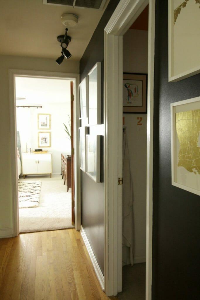 Modern Black White Gold Hallway