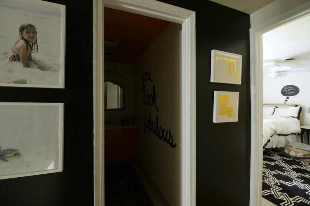 Black white gold hallway art update