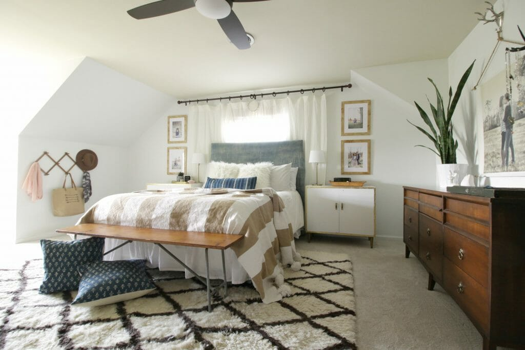 Neutral Bedroom with Loads of Texture and Pet Proof Carpet