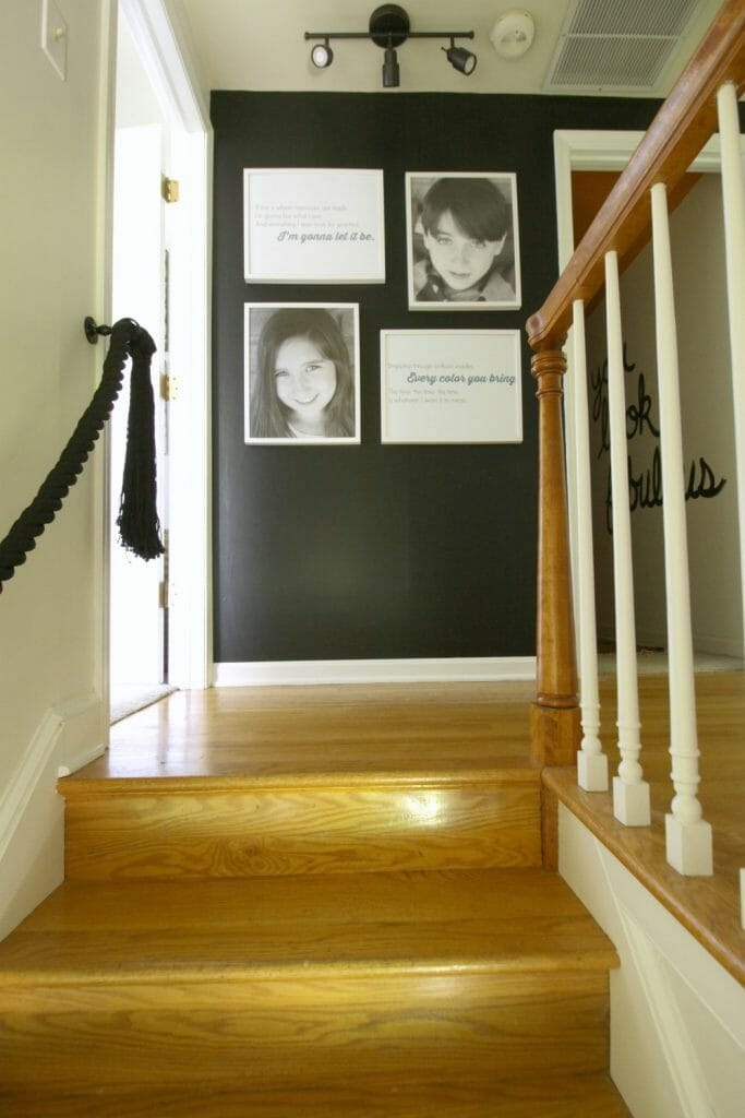 Black and White and Wood Staircase and Hallway makeover- One Room Challenge