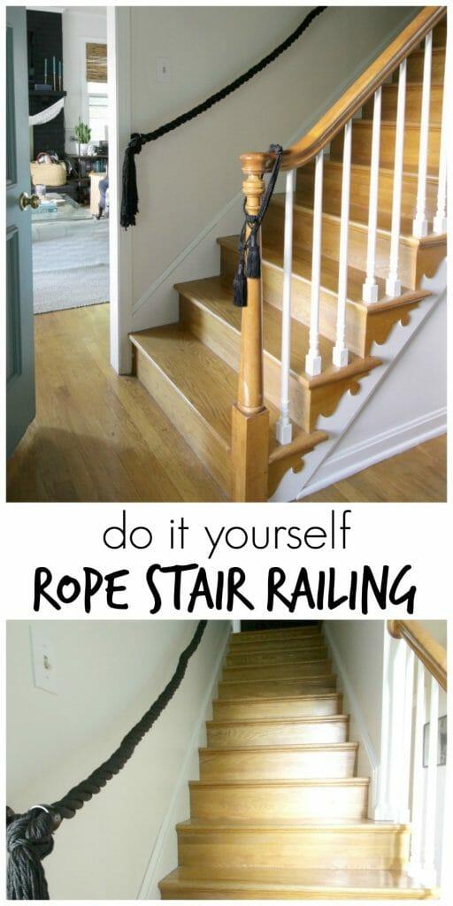 DIY Rope Stair Railing- Full Tutorial
