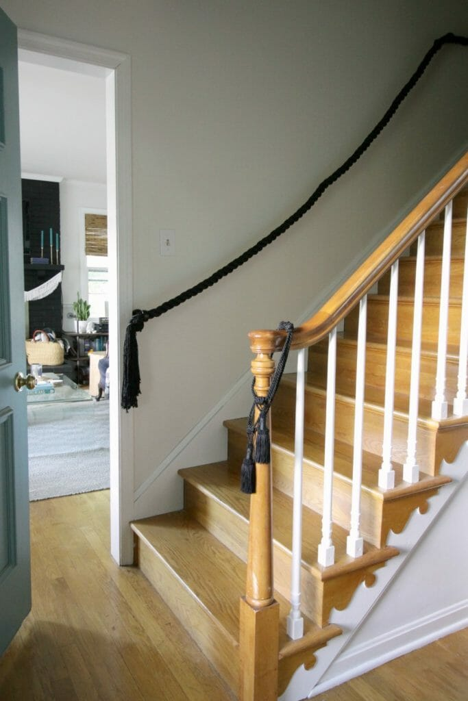 One Room Challenge Week 5 Diy Rope Stair Railing Painted