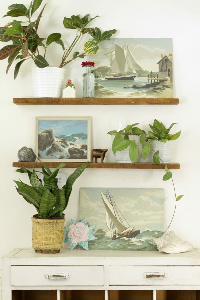 Summer Styled Dining Room Shelves with vintage touches