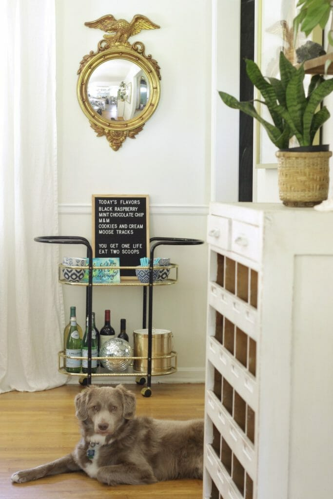 Vintage Bar Cart Styled for Ice Cream Summer