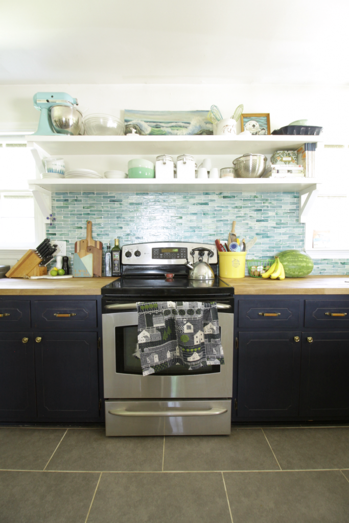 Eclectic Modern Vintage Blue Kitchen