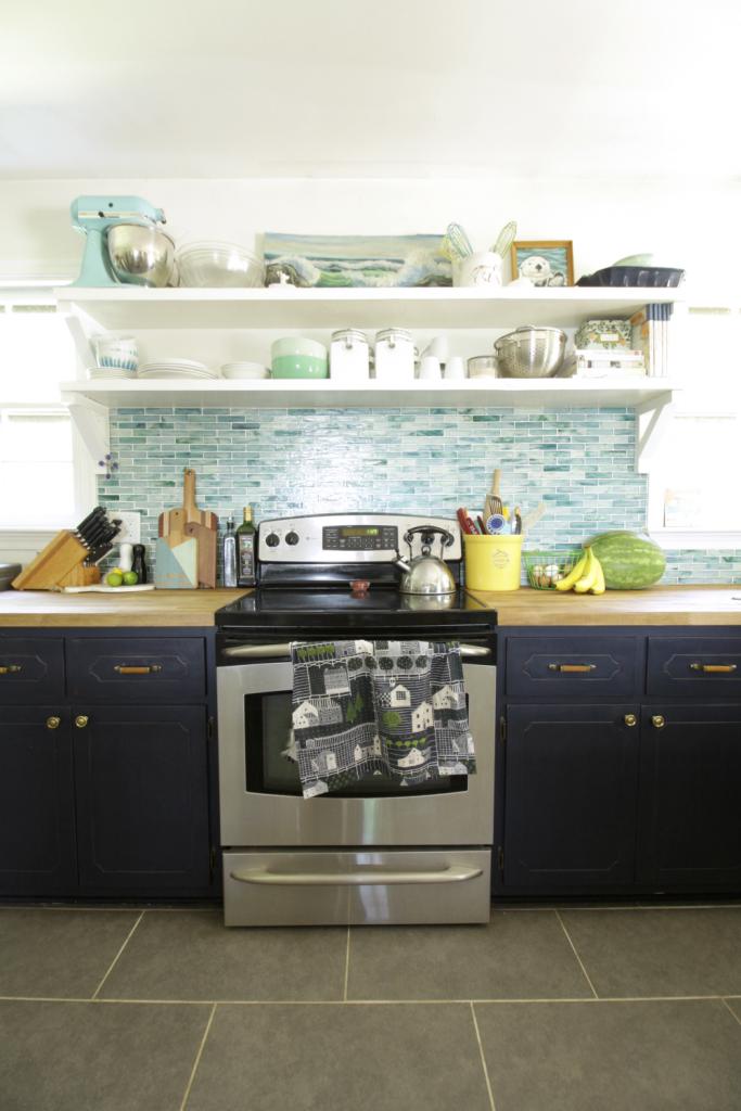 Eclectic Modern Vintage Blue Kitchen
