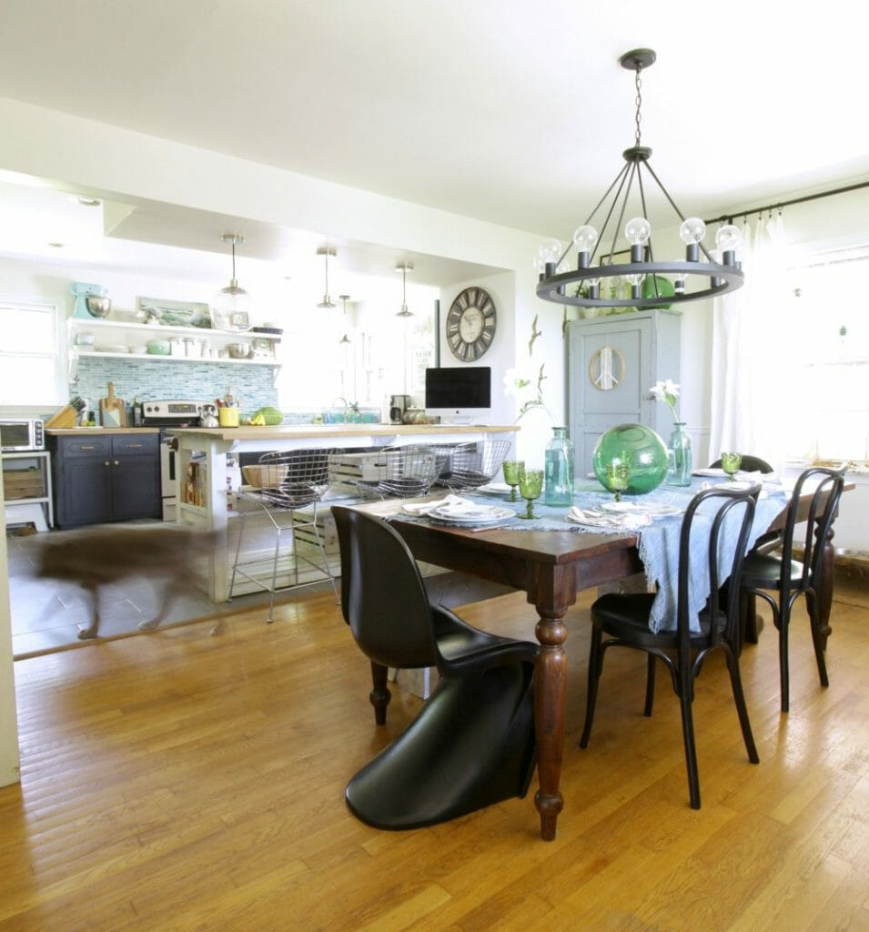 Eclectic Dining Room and Kitchen