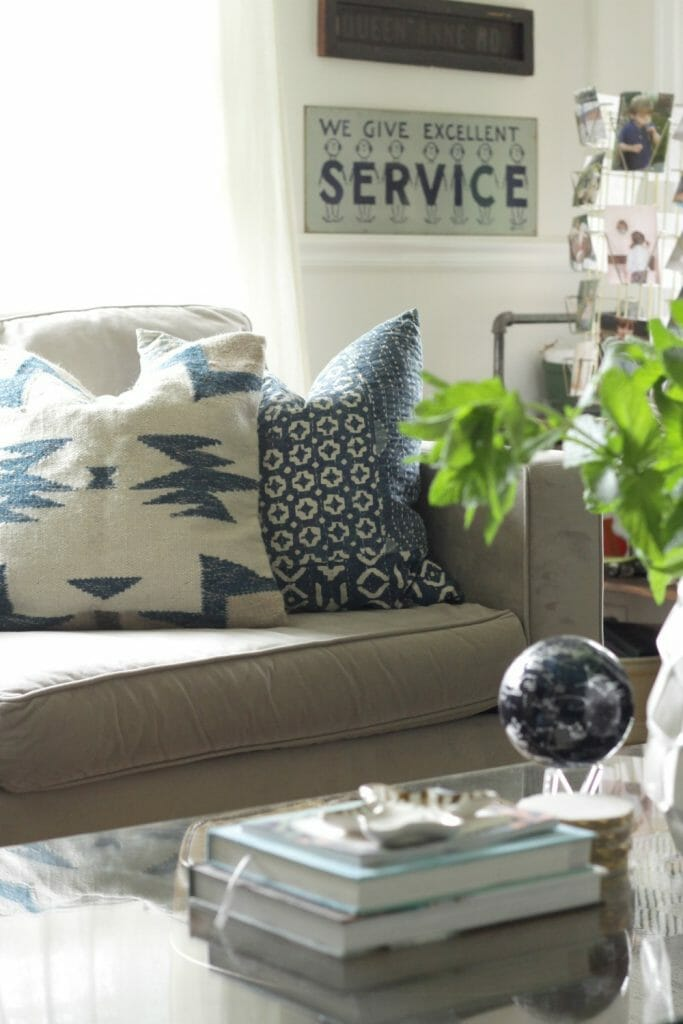 Cream and Indigo Blue Pillows- Eclectic Living Room