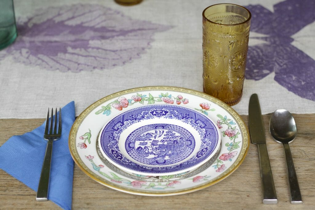 Vintage Dishes Eclectic Boho Table