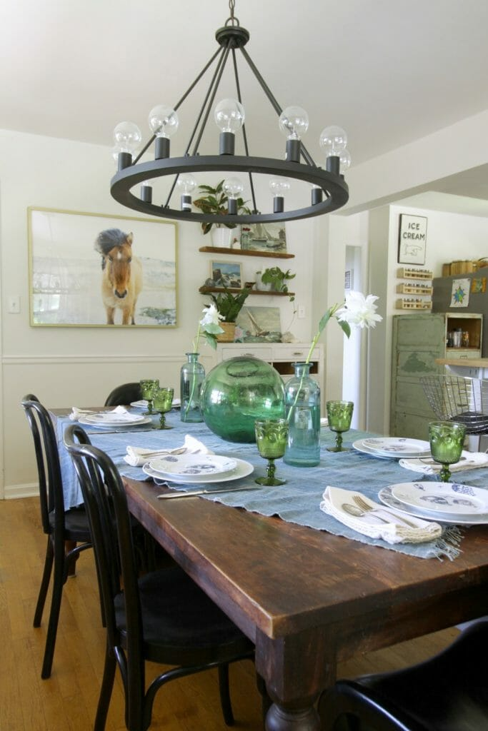 Eclectic Blue and Green Dining Table Setting