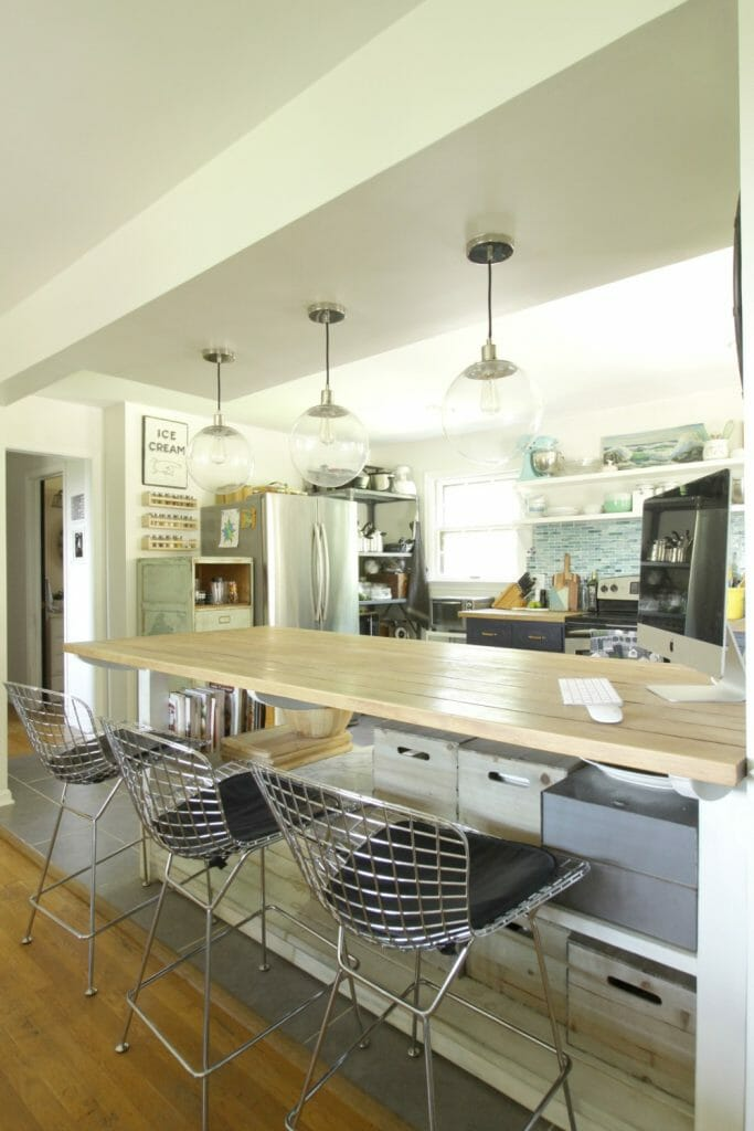 Rustic Kitchen Island with Modern Stools