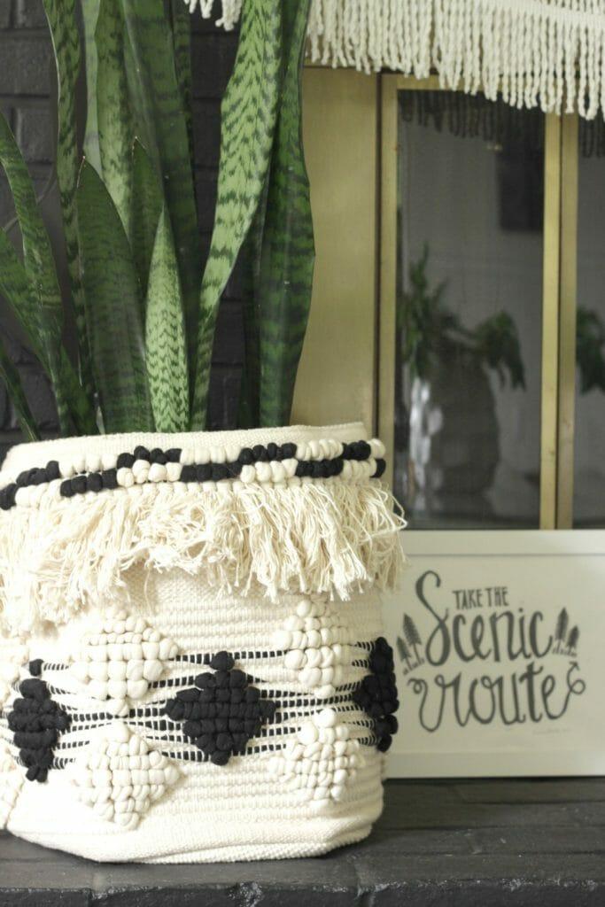 Moroccan basket as planter