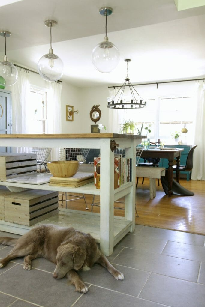Industrial Kitchen Island with Pendants