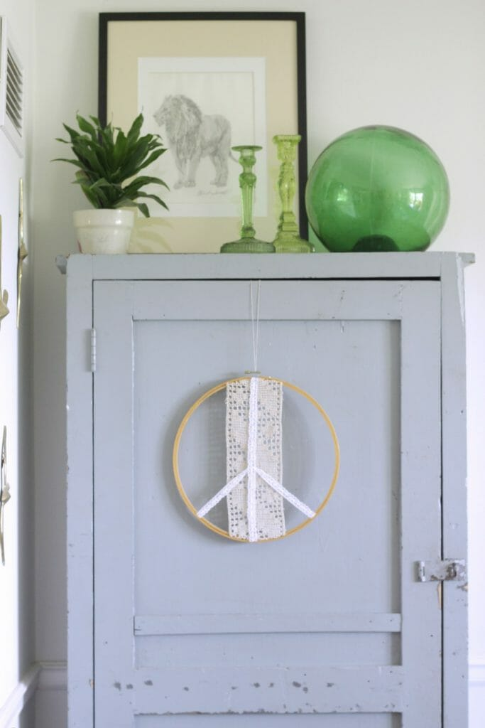 Summer Cabinet Styling- Blue and Green Vintage Style