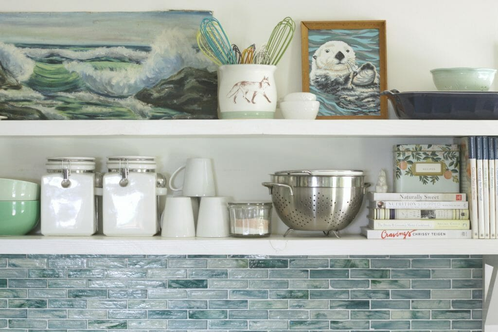 Styled Summer Kitchen Shelves