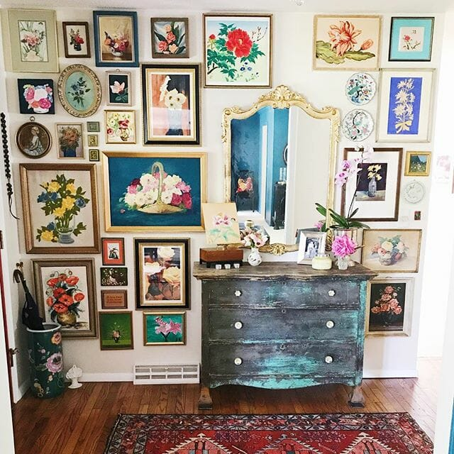 Amazing floral gallery wall from Street Flea