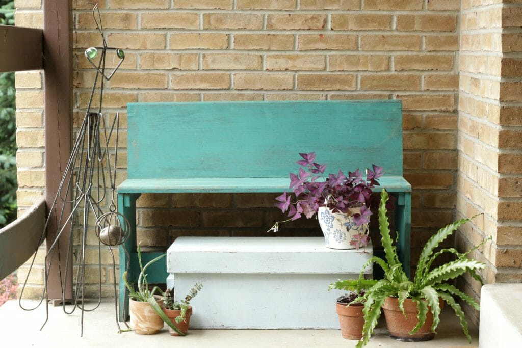 Turquoise Porch Bench
