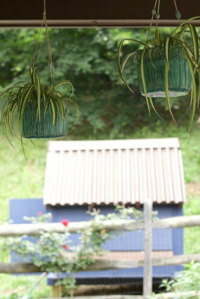 Vintage hanging aqua planters