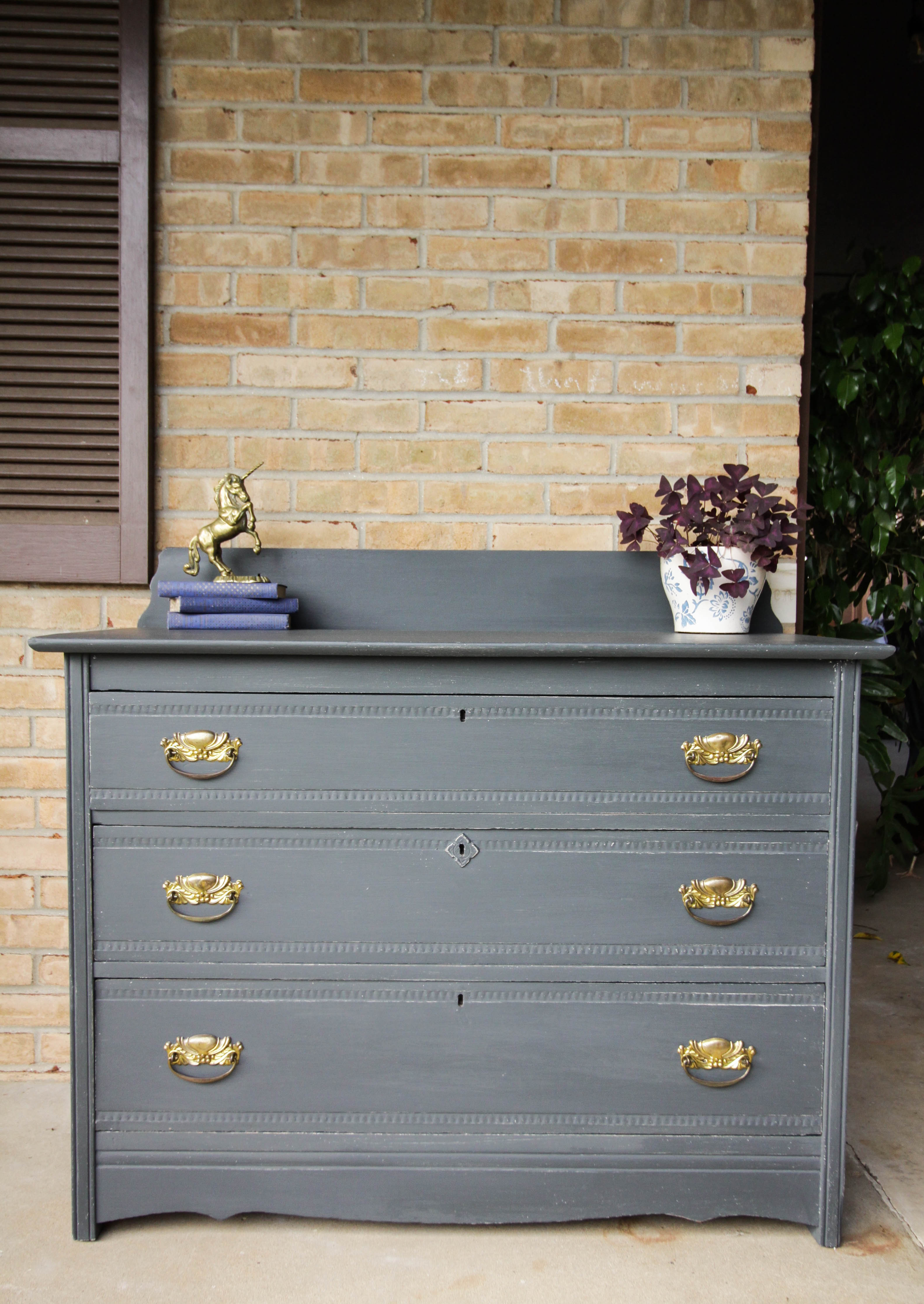 Furniture Makeover Charcoal Gray Gold Rustic Farmhouse Style Dresser Cassie Bustamante