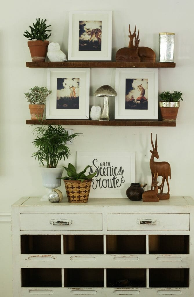 Earthy Eclectic Shelf Styling for Fall