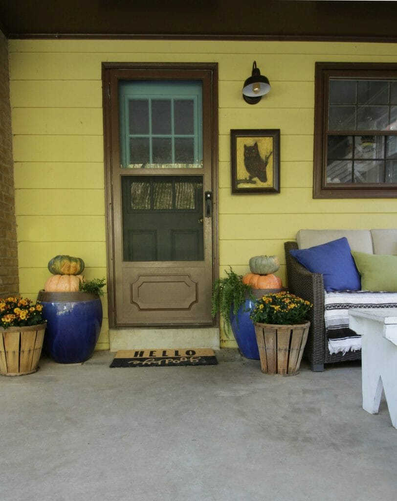Fall Porch Entry with Urns and Pumpkins