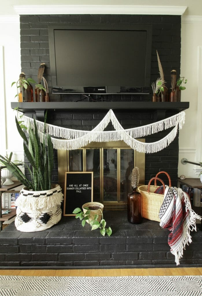 Fall Fireplace Decor- Bohemian Style