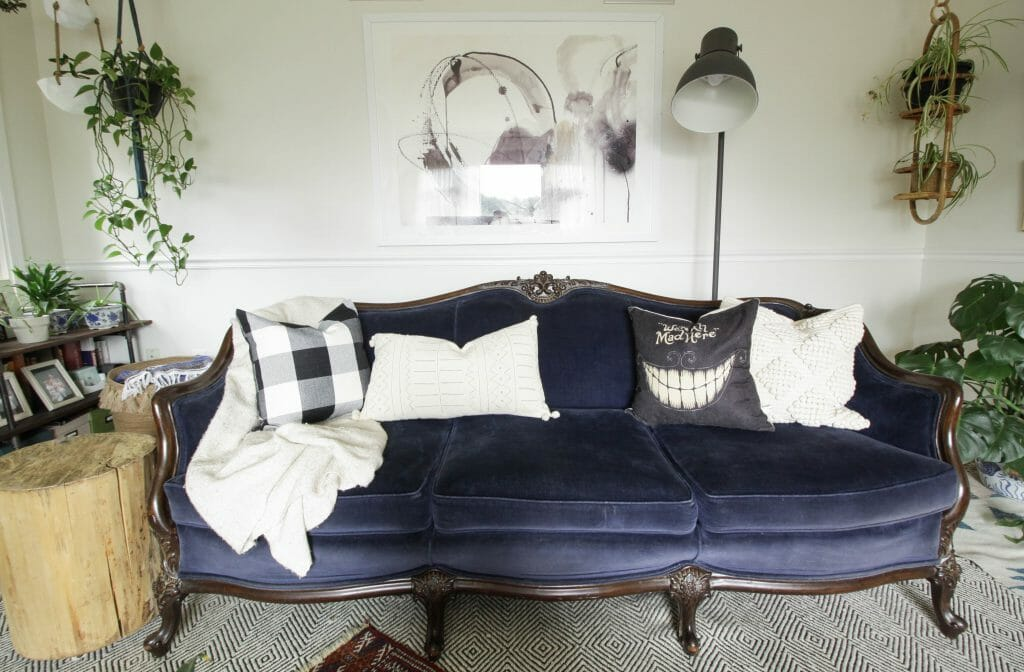 Black and White Fall Pillows on Vintage Sofa