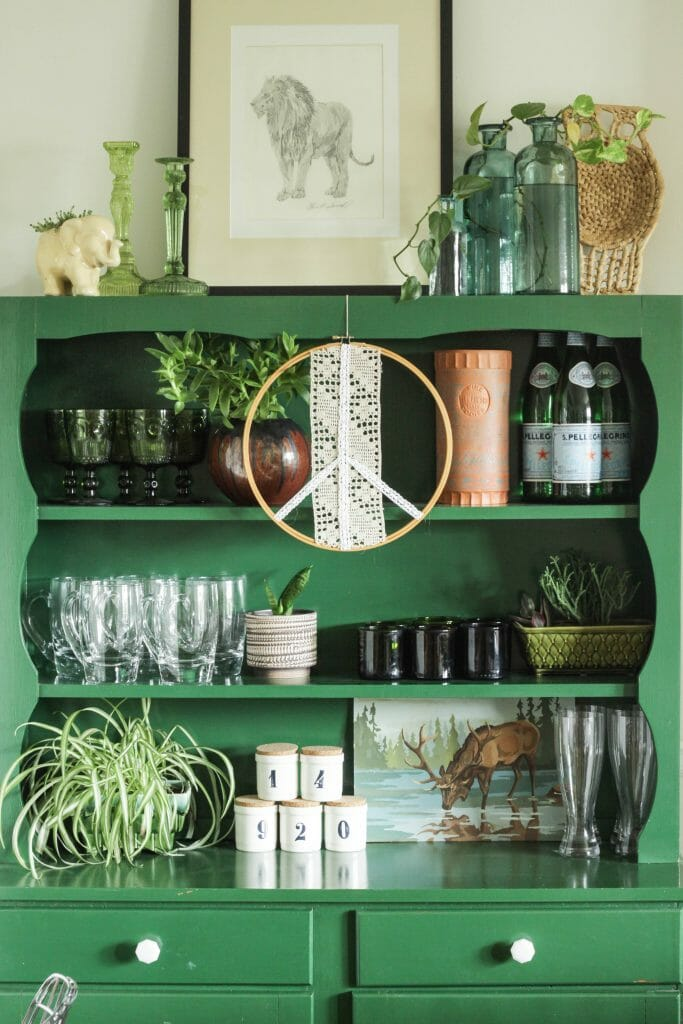 Styled Green Hutch Shelf for Fall