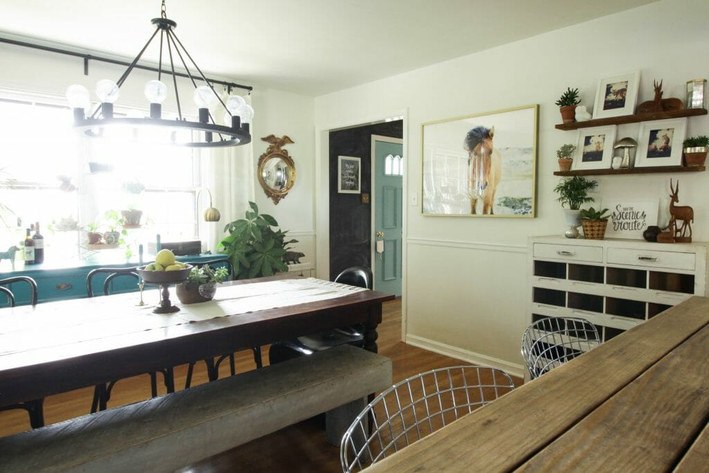 modern rustic farmhouse dining room in black, white, blue, wood