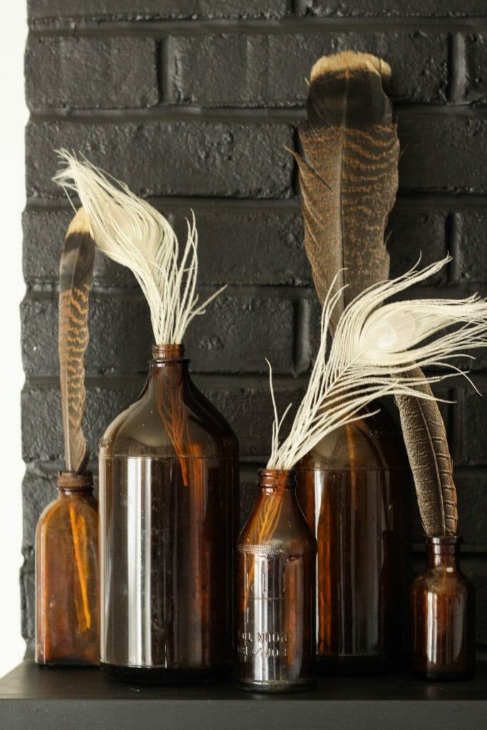 Amber bottles with Feathers