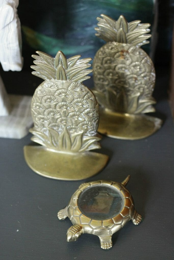 Brass Pineapple Bookends and Turtle