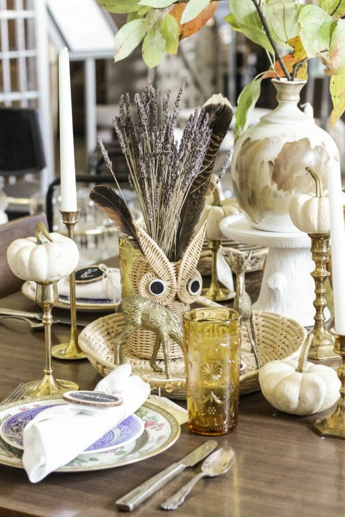 Eclectic Natural Glam Tablescape- Fall