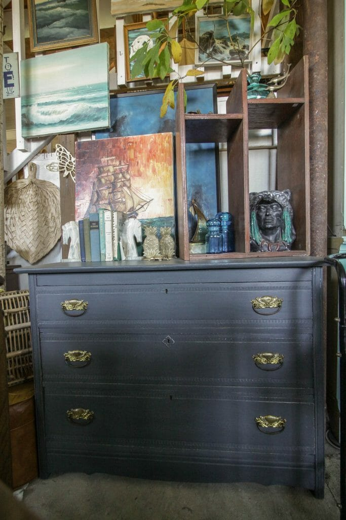 Gray Farmhouse Dresser and nautical seascape wall
