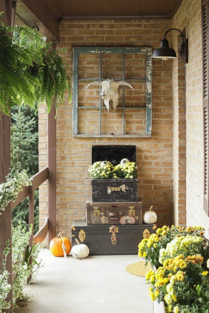 Eclectic Boho Halloween Porch Entry with Eyeballs