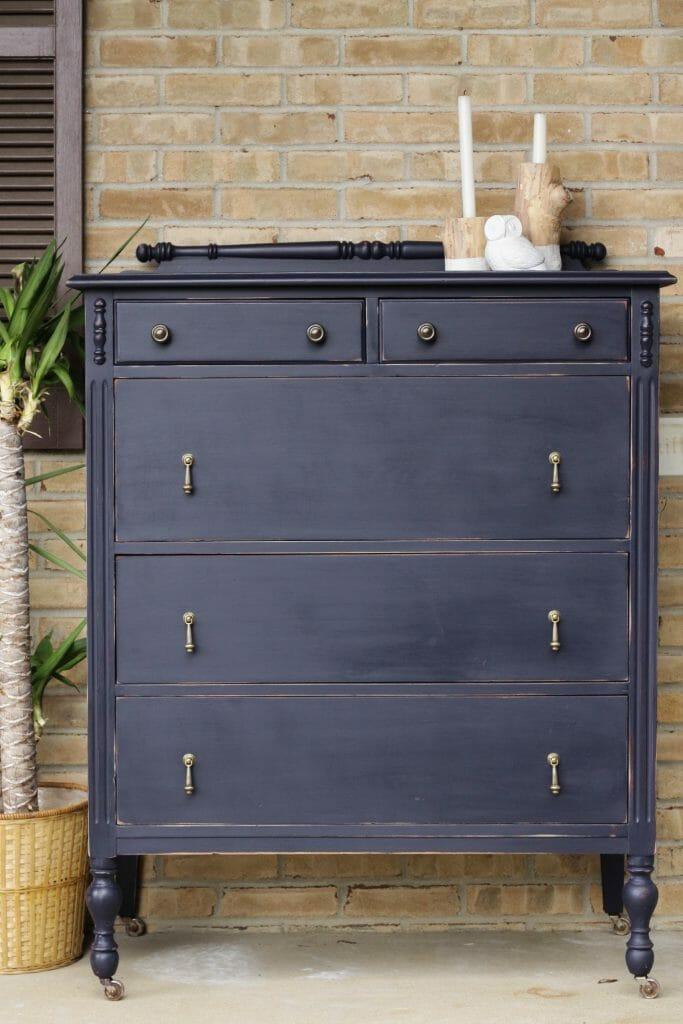 Classic Indigo and Brass Drop Pull Dresser