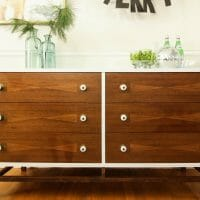 Furniture Makeover: Two Toned Wood Inlay Midcentury Dresser