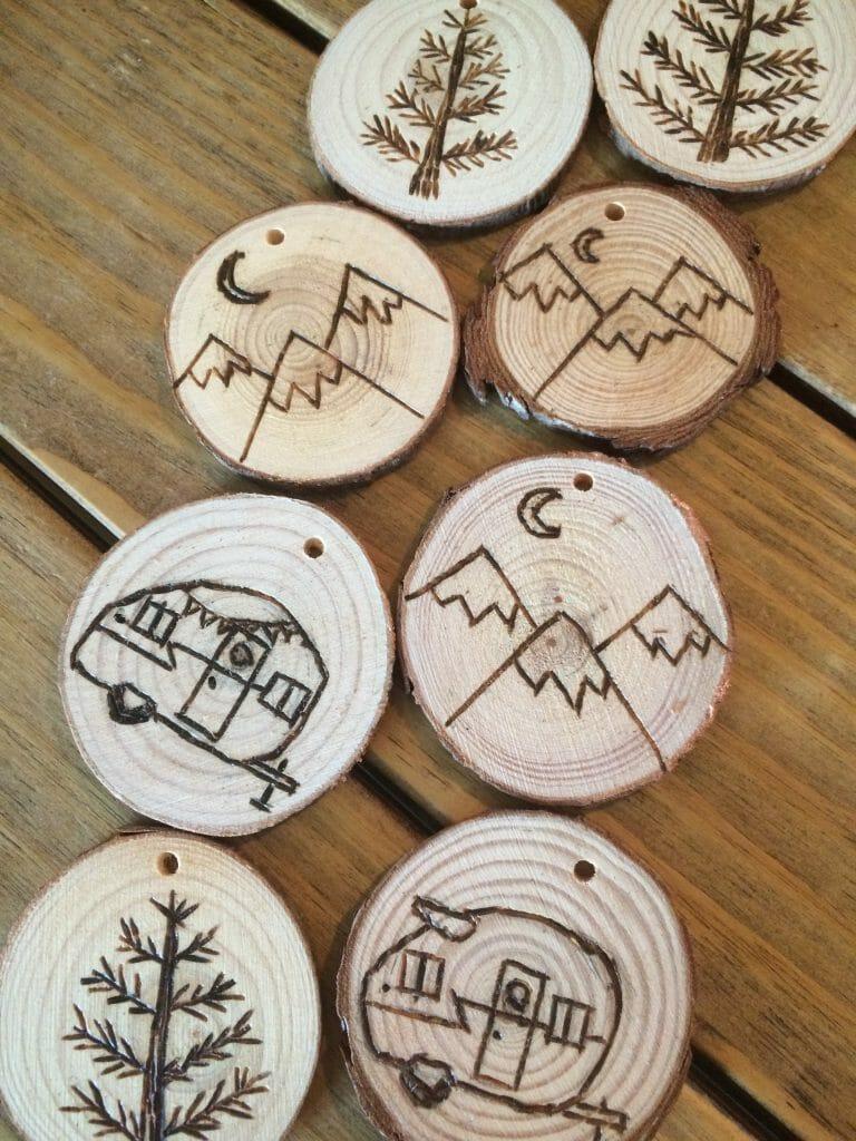 DIY Outdoor Adventure Wood Burned Ornaments