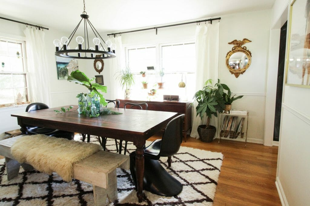 Eclectic Cozy Neutral Dining Room