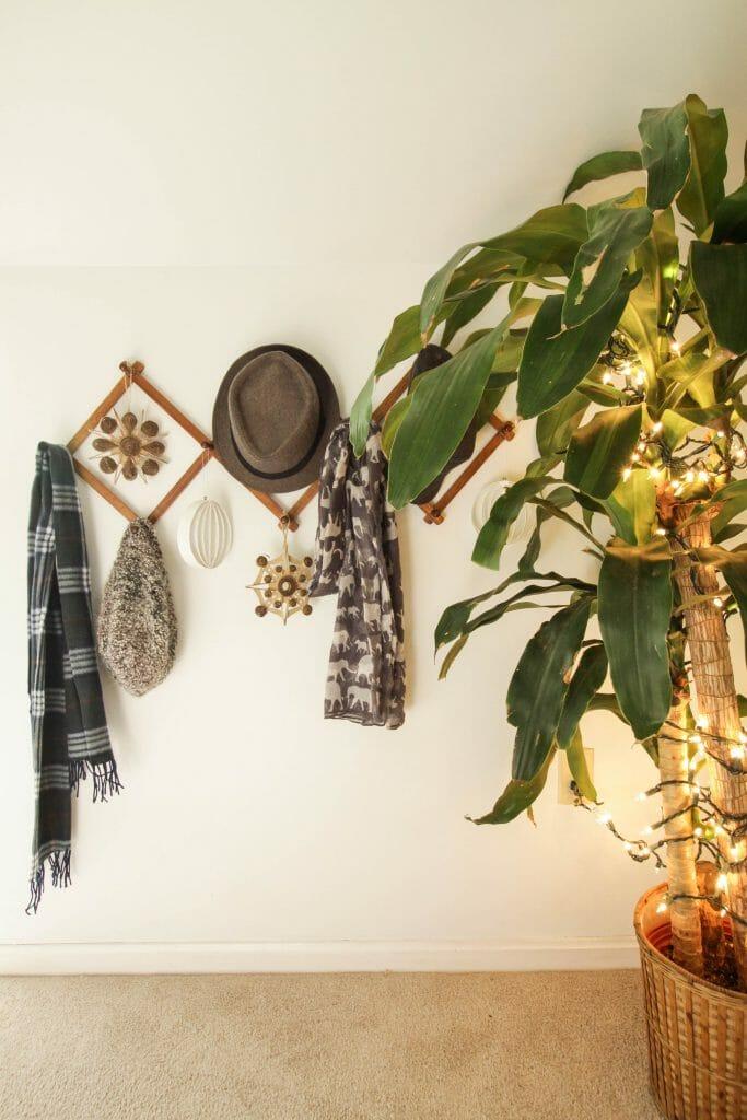 Christmas Ornaments on accordion rack