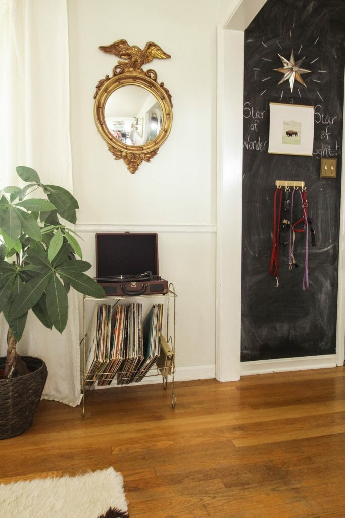 Christmas Chalkboard & Vintage record stand and player