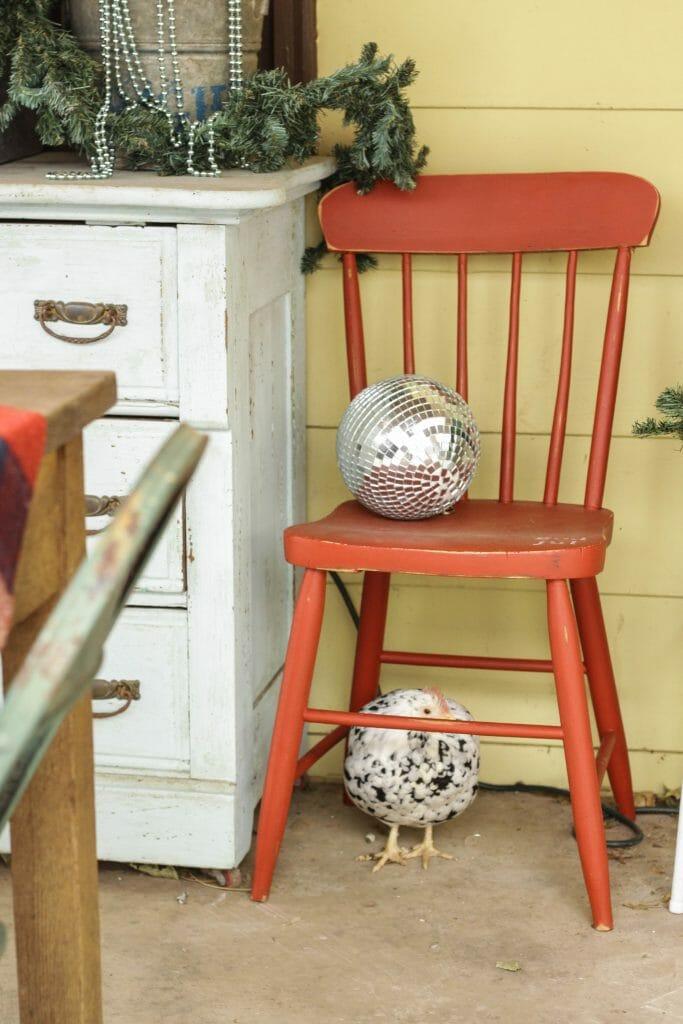 Christmas porch decor and hiding chicken
