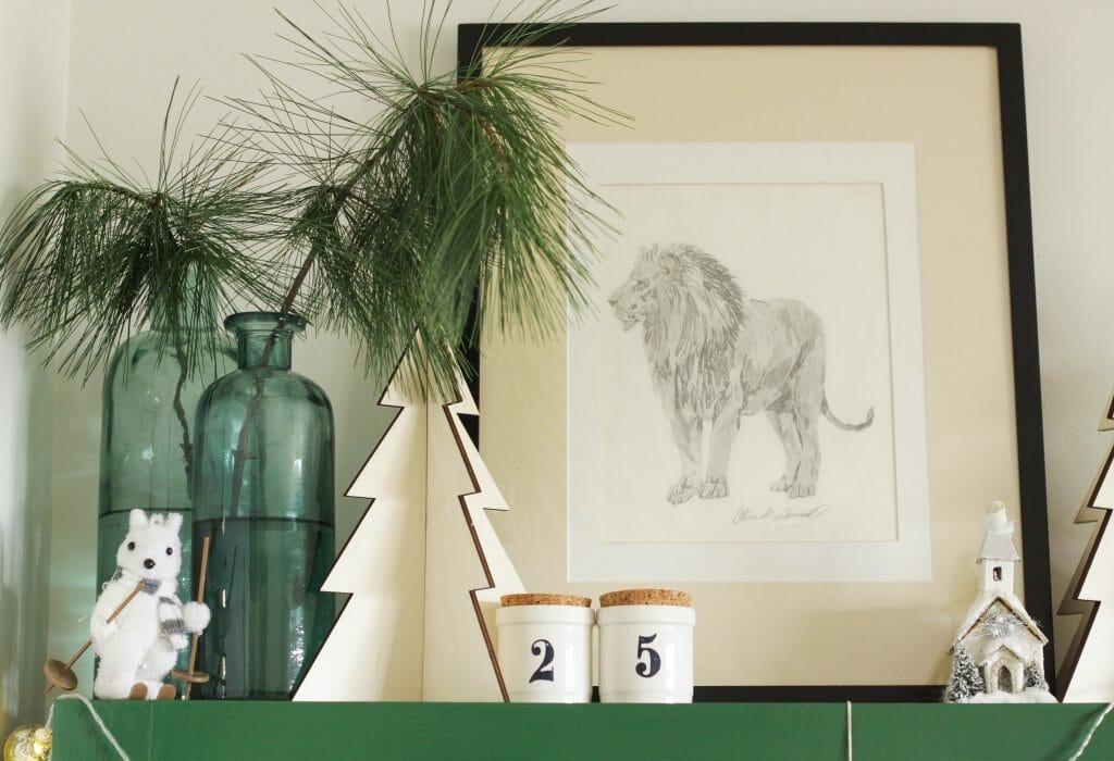 Christmas Shelf Styling- boho farmhouse style
