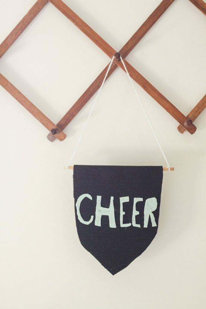 DIY Kid made felt flag- cheer